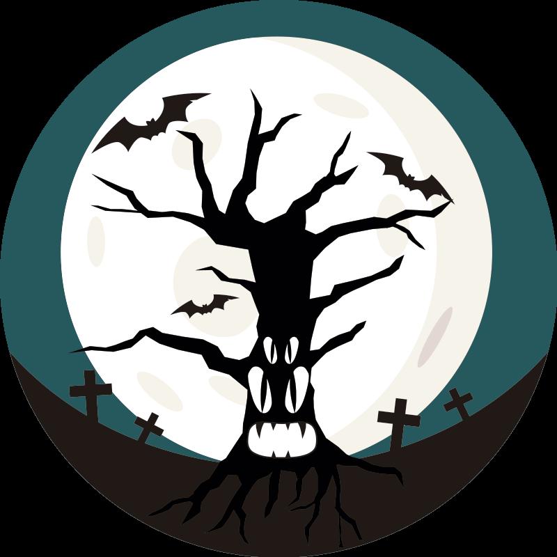 TenStickers. Wandtattoo für Zuhause Halloween Friedhof Mond. Finden Sie auf unserer Website eine passende Halloween Wandgestaltung wie dieser Comic Friedhof Aufkleber. Online-Kauf mit Garantie