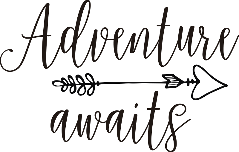 TenStickers. Adventure Awaits Calligraphy Car Sticker. Remind yourself that any journey in your vehicle is an adventure with this superbcar decal. Ideal for all travelling dreamers! Anti-bubble vinyl.