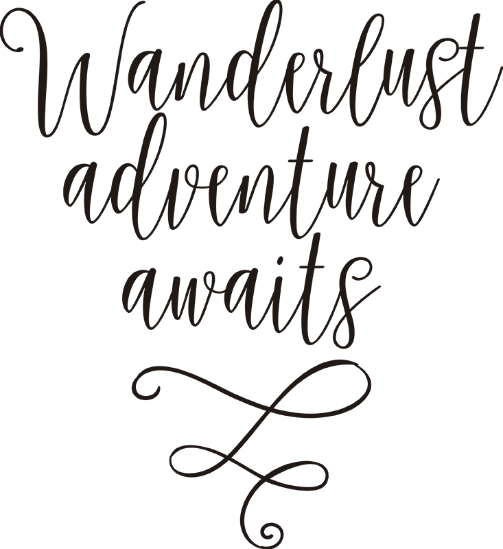 TenStickers. Wanderlust Adventure Awaits Sticker. Adventure Awaits! If travelling is your motivation in life, remind yourself that adventure awaits with this stylish wall text sticker.
