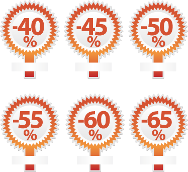 TenStickers. Promotional Discounts Business Sticker. Business Stickers - Use this to present your irresistable promotion up to 65%!Ideal for retail stores and businesses.