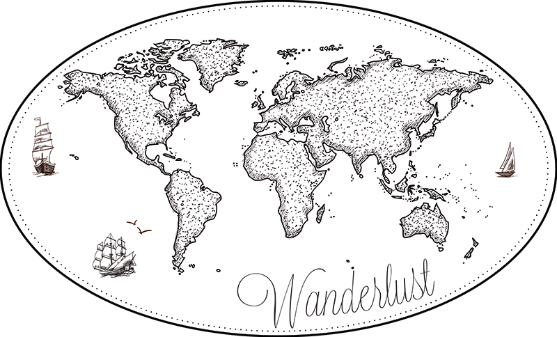 TenStickers. Wanderlust World Map Sticker. Bring out your wanderlust with this stunning world map wall sticker! Ideal for all those budding travellers! Sign up for 10% off.