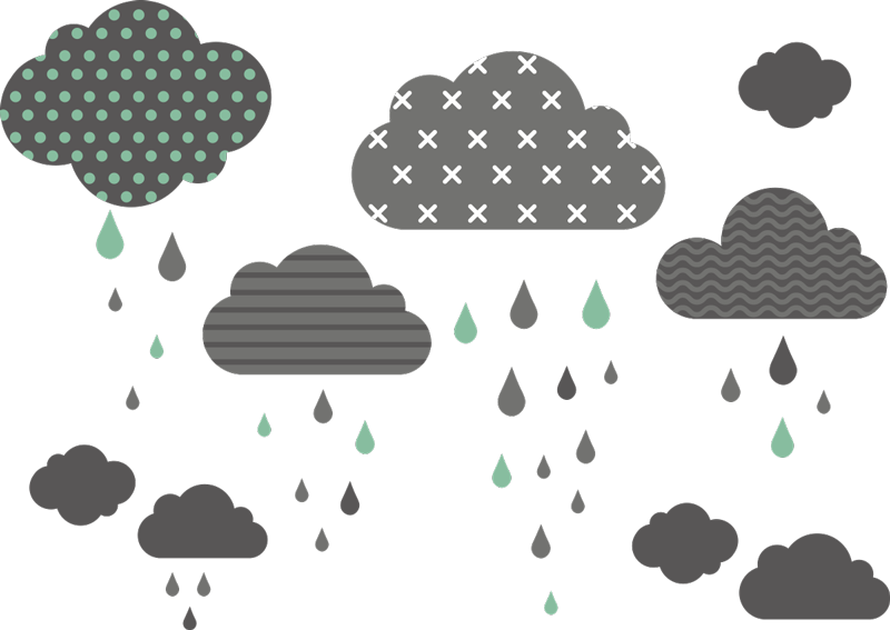 TenStickers. Patterned Rain Clouds Wall Sticker. With this stylish pattern sticker, you can always sing in the rain while remaining totally dry!