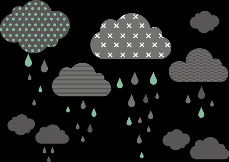 TenStickers. стикер стены дома в скандинавском стиле. эта детская наклейка из облаков и капель дождя нескольких цветов будет уютной. Отрегулируйте размер в соответствии с вашими пожеланиями.