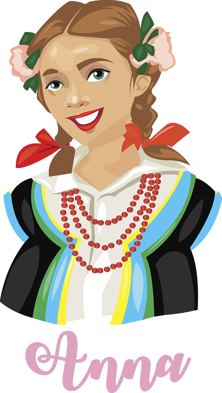 TenStickers. Polish dress wall sticker wall decal. A pretty wall art decal of a typical Poland lady in outfit costume with name personalisation. Easy to apply and available in any size.