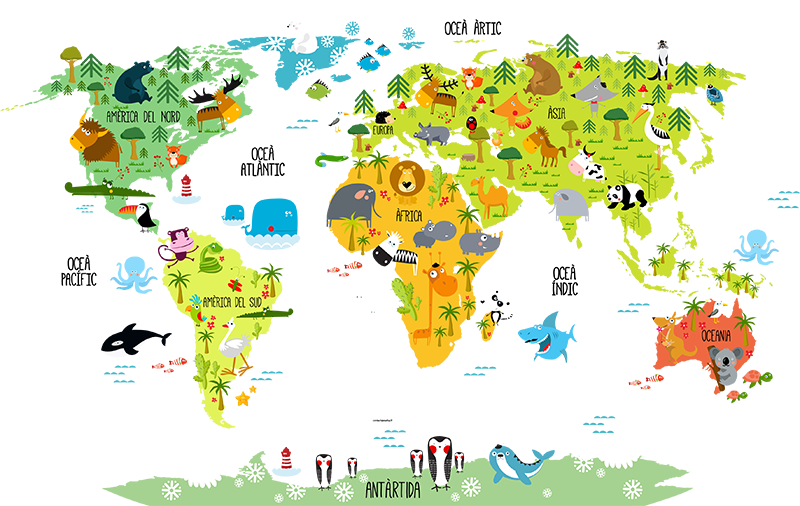 TenStickers. Catalan children's map world map decal. Decorative illustrative world map wall sticker with features of animals, vegetation and marine life. Easy to apply and adhesive.