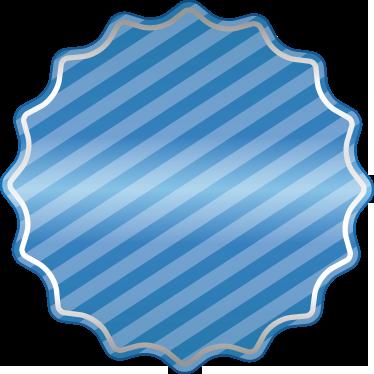 TenStickers. Sticker étiquette offre bleu rayé. Sticker bleu rayé en forme de tampon rond pour annoncer vos offres et réductions en vitrine, à tous moments de l'année. Service Client Rapide.