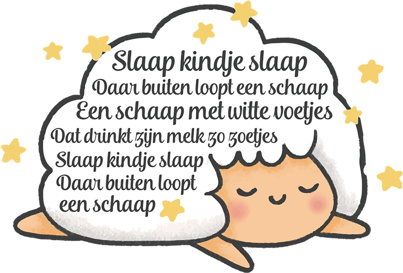 TenStickers. Sleep baby sleep NL nursery rhyme decal. Nursery rhyme wall sticker designed on a cloud shape background with sleeping baby animal with text rhyme. Easy to apply and adhesive.