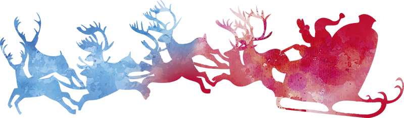 TENSTICKERS. サンタのそり水彩ステッカー. サンタと彼のそりはこの楽しい水彩ステッカーに表示されます!クリスマスのひねりに最適です。パーソナライズされたステッカー。