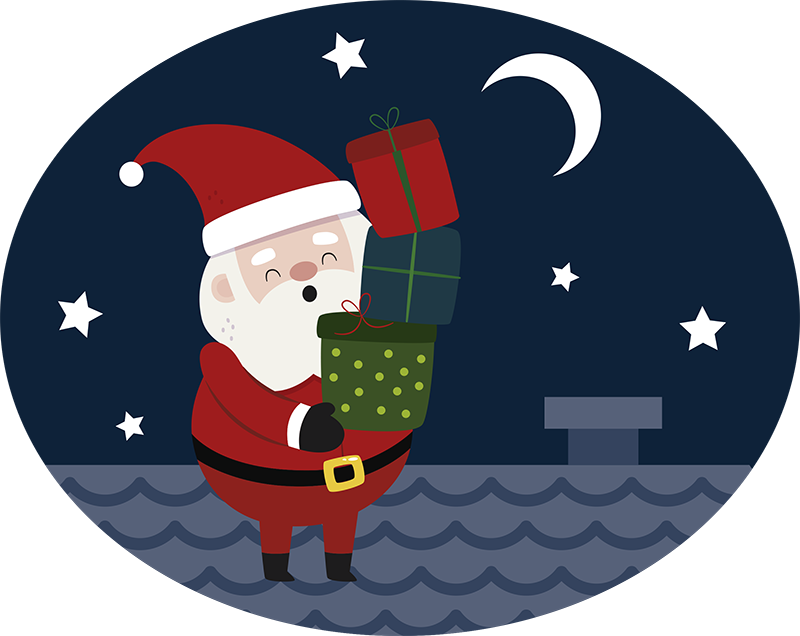 TenStickers. Santa at Chimney Wall Sticker. Christmas Wall Sticker showing Santa on Christmas Eve as he delivers gifts! Perfect for your home at Christmas! Sign up for 10% off.