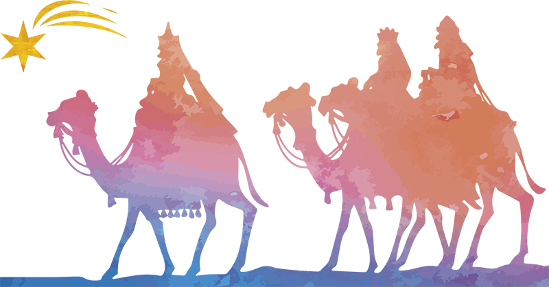 TenStickers. Three Kings Christmas Wall Sticker. Wall decal depicting the journey of the three kings to Nazareth! Ideal for the festive period of Christmas. Discounts available.