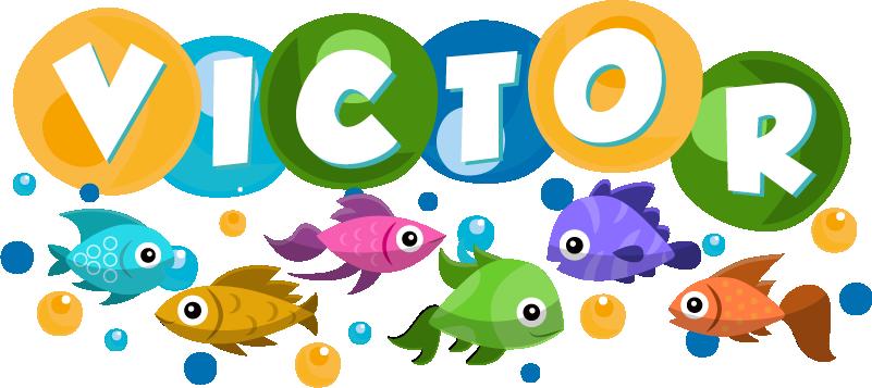 TenStickers. Aufkleber Fisch Fisch bunt Namen personalisiert. Geben Sie Ihrem Zuhause mit diesem tollen Namens Fisch Aufkleber einen ganz neuen aufregenden Touch, der beeindruckt! Mehr als 50 Farben