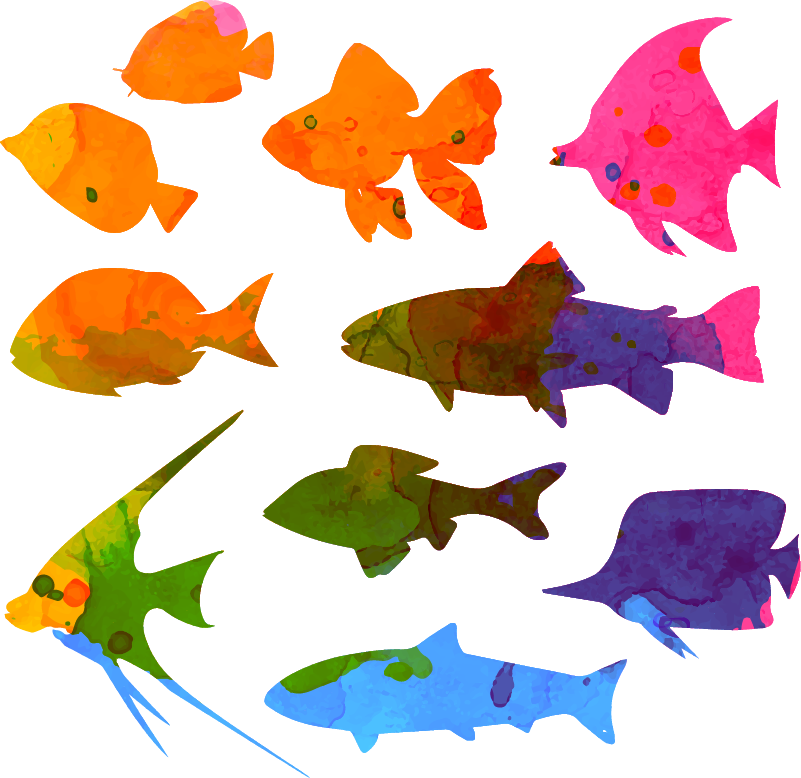 TenStickers. Fish Painting Wall Sticker. Add some artistic fish to your child´s bedroom wall with this superb wall sticker! Discounts available.