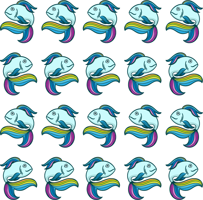 TenStickers. Wandtattoo Fisch Neon Fisch bunt. Dieses Set an Meeresfischen besteht aus tollen Neon Fisch Wandaufklebern, die dem Kinderzimmer oder Bad eine schöne Vielfalt verleiht. Blasenfreie Anbringung