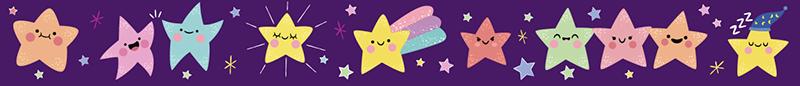 TenVinilo. Vinilo pared estrellas de colores. Cenefa adhesiva para habitación infantil formada por varias estrellas de diferentes colores sobre fondo lila. Vinilos Personalizados a medida.