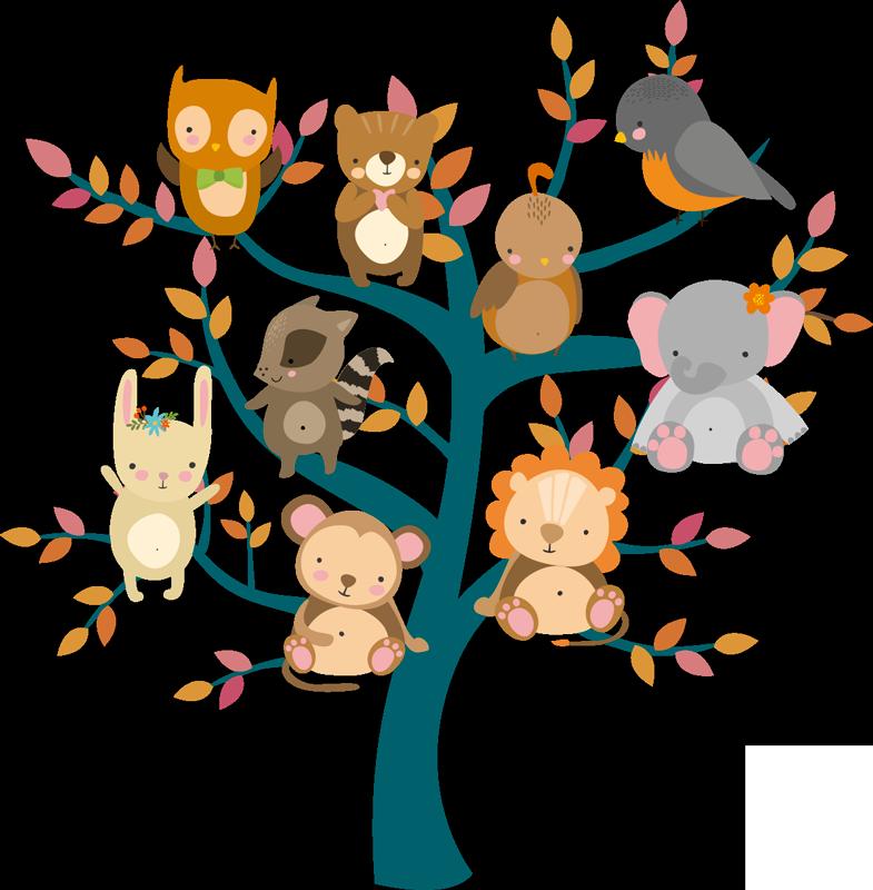 TenVinilo. Vinilo habitación infantil árbol con animales. Fantástico vinilo para habitación infantil con el diseño de un árbol y varios animales colocados encima de él. +10.000 Opiniones satisfactorias.