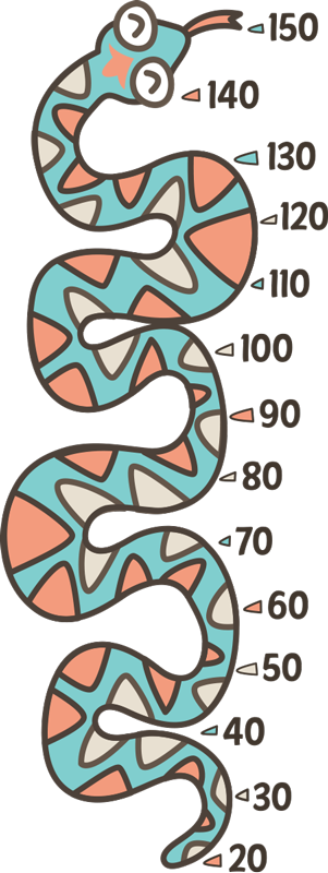 TenStickers. Serpent Height Chart Sticker. Follow your little one´s growth with this fantastic height chart sticker! Anti-bubble vinyl. Ideal for those proud parents!