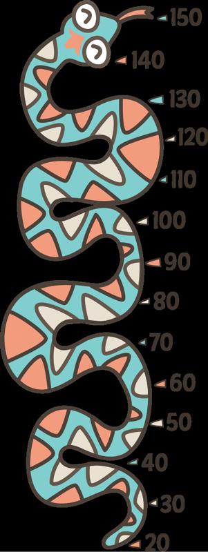 TenStickers. 蛇高度图贴纸. 用这个梦幻般的高度图贴纸来衡量孩子的成长!