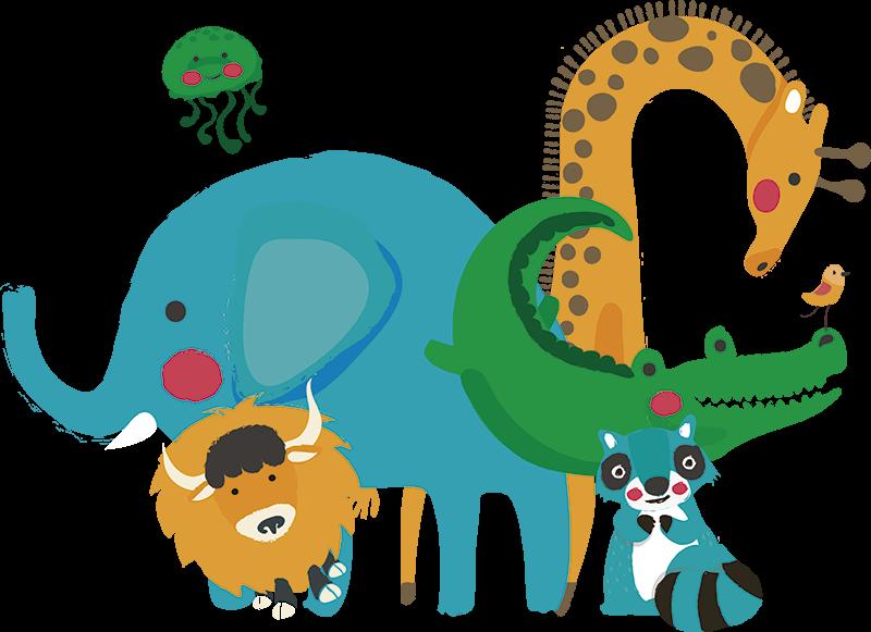 TenVinilo. Vinilo adhesivo para puerta animales de la selva. Fantástico vinilo infantil adhesivo parapuerta con animales con los que tu hijo se alegrará la vista cada vez que entre a su habitación. Fácil de colocar.