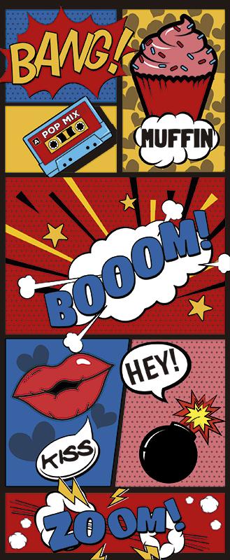 TenStickers. Sticker Maison Porte Art Pop Comique. Décorez la porte de la chambre de votre ado de manière originale et rigolote pour qu'il personnalise son espace avec un sticker porte.
