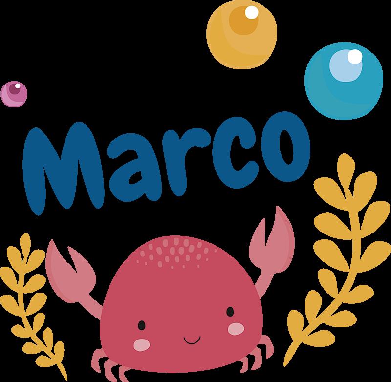TenStickers. Sticker Maison Illustration de Crabe pour Enfant. Optez pour décoration personnalisable pour la chambre de votre enfant avec cet autocollant mural d'animal pour lui donner l'envie d'aimer sa chambre.