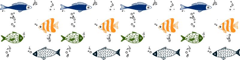 Wandtattoo Badezimmer Fische Muster Bordüre - TenStickers