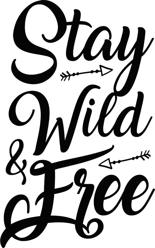 """TenVinilo. Vinilo frase free spirit. Vinilo de texto monocolor formado por la frase """"Stay wild & free"""" en una tipografía desenfadada y varios detalles. Vinilos Personalizados a medida."""