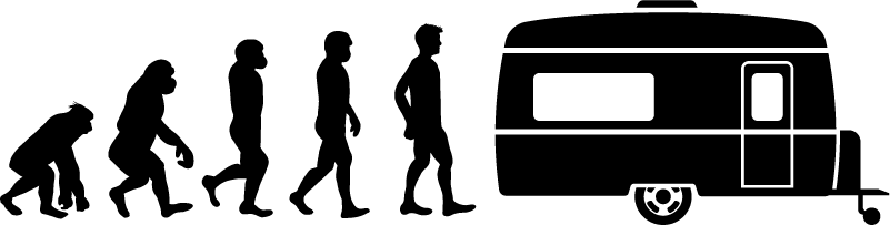 TenStickers. Human Evolution to Caravan Sticker. Illustrate the theory of your evolution with this fantastic vehicle sticker! Extremely long-lasting material.