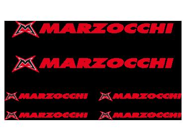 TenStickers. Autocolantes para bicicletas Logo Marzocchi color. Fantástico kit de adesivos decorativos para bicicletas com o logotipo Marzocchi para poderes colar em qualquer parte da tua bicicleta.