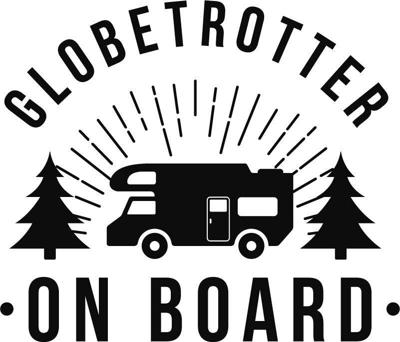 TenStickers. Globetrotter on Board Vehicle Sticker. Clearly display your love for travelling with this fantastic sticker! Personalised stickers.