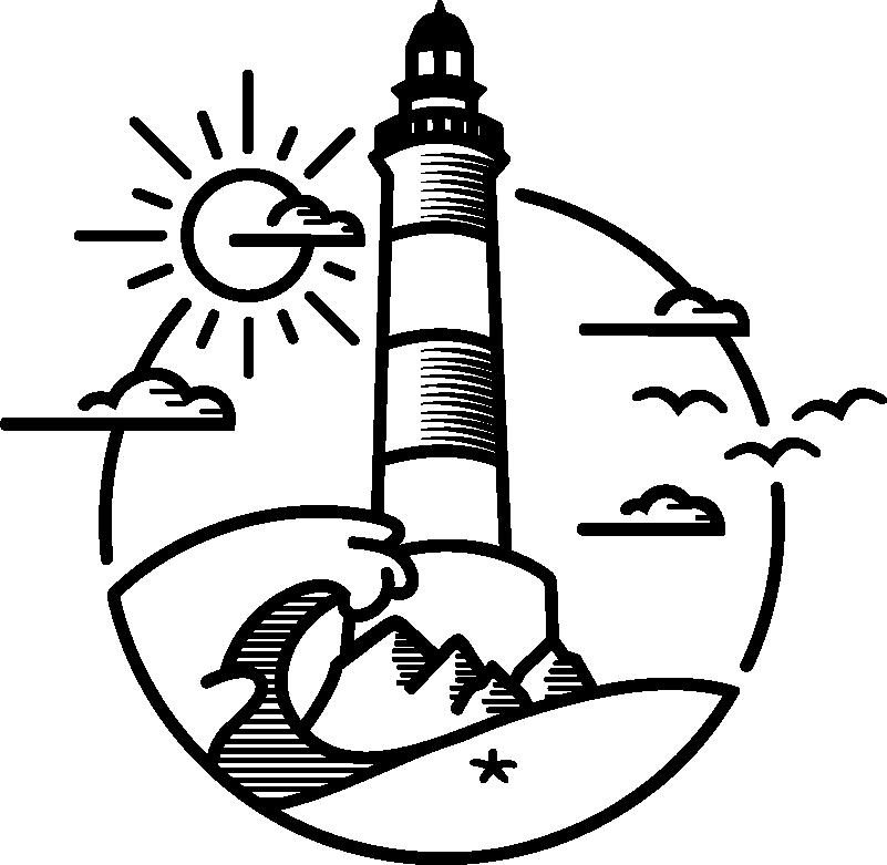TenVinilo. Vinilo autocaravana ilustración faro y sol. ¡Decora tu vehículo con este vinilo autocaravana con temática náutica con el mar, un faro y un cielo soleado perfecto para ti! ¡Envío a domicilio!