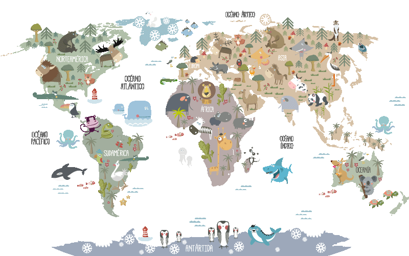 TenStickers. pastel shaded animals children's map world map wall stikcer. An illustrative educative pastel shaded animals children's map decal. Available in any required size and easy to apply on a flat surface.