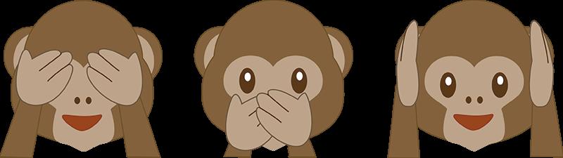 TenStickers. Vinis decorativos de tecnologia e internet emojis macacos. Autocolantes decorativos para quarto infantil com a representação de três macaquinhos a tapar os olhos, a boca e os ouvidos.