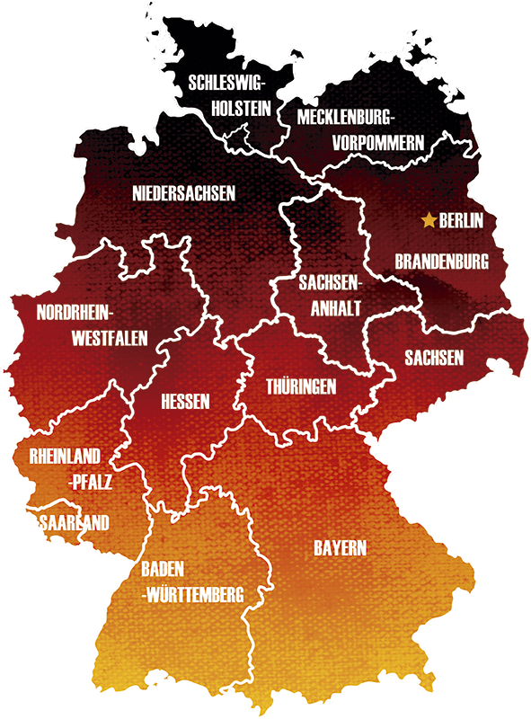 TenStickers. 地图德国国家墙贴花. 装饰的德国地图墙贴纸以惊人的彩色背景色设计。易于应用,可以购买任何尺寸。
