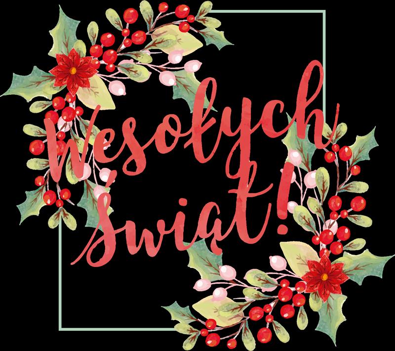 TenStickers. 波兰圣诞节墙贴花的圣诞快乐. 圣诞节墙壁贴纸设计与装饰五颜六色的花和季节问候发短信。易于应用且自粘。