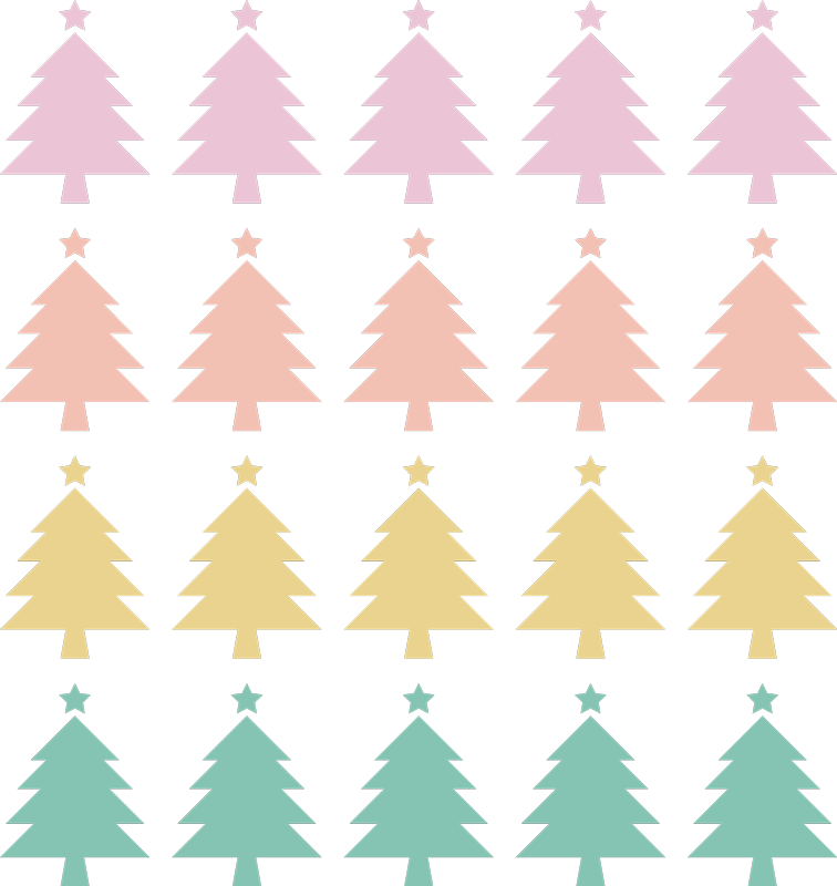 TENSTICKERS. ミニカラフルなクリスマスツリーのステッカー. 今12月に家にいくつかの豪華なクリスマスツリーを追加してください!