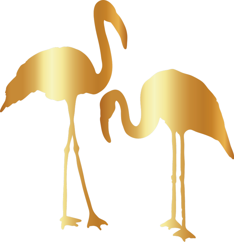 TenStickers. Gold Flamingo Wall Sticker. Decorate your wall with this wall decal depicting a pair of golden flamingos - A dream combination! Zero residue upon removal.