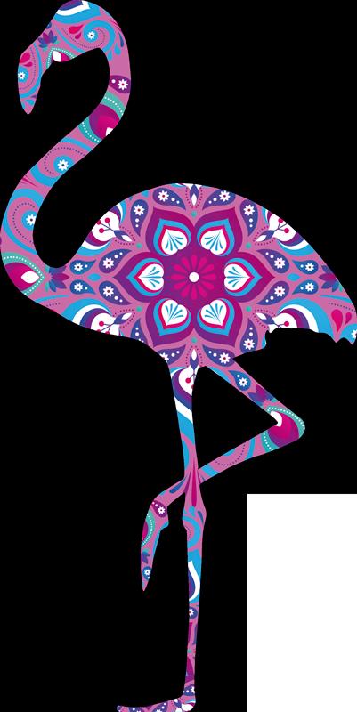TenVinilo. Vinilo pájaro flamenco mándala. Original vinilo adhesivo con el diseño de un flamenco con estampado de mandala floral en tonos lilas, azules y rosas. Precios imbatibles.