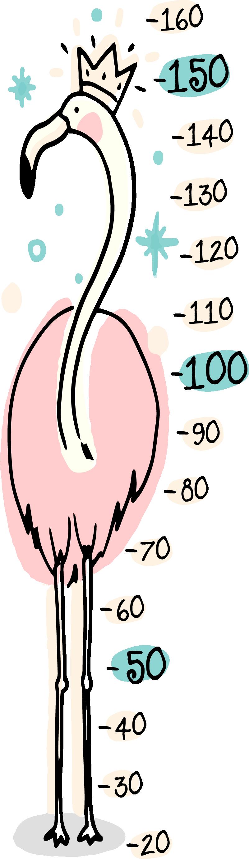 TenStickers. Pink flamingo væg klistermærker til barn. Vinyl væg klistermærke til at holde trit med din kids vækst. Let og hurtigt at anvende.