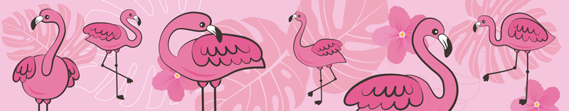 TenStickers. Red Flamingos Wall Border Sticker. Add some magnificent flamingos to your wall with this pink wall border sticker! Zero residue upon removal.