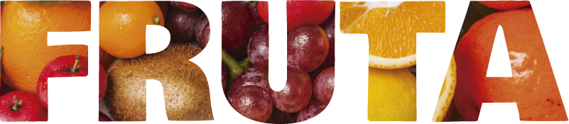 """TenVinilo. Vinilo pared Fruta texto. Colorido vinilo adhesivo para la cocina formado por la palabra """"FRUTA"""" con un fondo muy frutal. +10.000 Opiniones satisfactorias."""