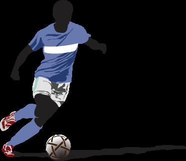 TenVinilo. Vinilo decorativo jugador fútbol. Adhesivo decorativo de un futbolista regateando a su contrincante y dominando el balón sobre el terreno de juego.