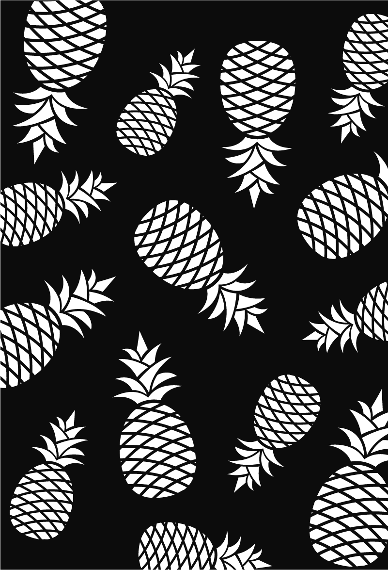 TenStickers. Pineaples窗口贴纸的模式. 一个非常优雅的贴纸,以重新装饰你的墙壁