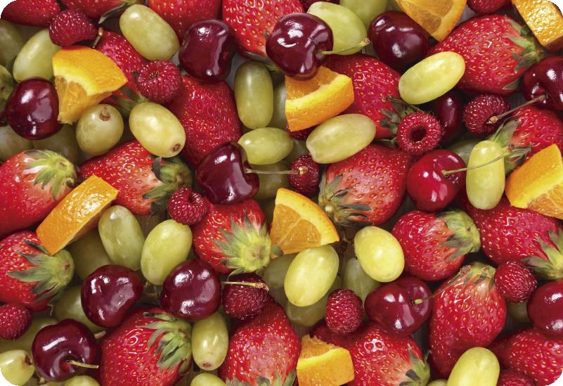TenVinilo. Vinilo gastronomía Texturas de frutas. Original y colorida pegatina adhesiva para portátil formada por diferentes tipos de frutas cómo naranja, uva, cereza o fresa. Envío Express en 24/48h.