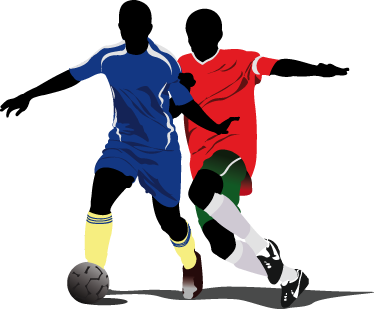 TenStickers. Football Players Decal. Football Wall Stickers - Two footballer silhouettes battling it out for the ball. Great for decorating kids´bedrooms or sports centres.