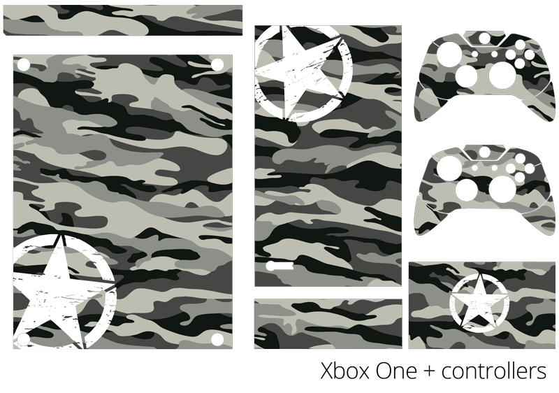 TenStickers. Camouflage Style Xbox Skin Sticker. Decorate your Xbox with this fantastic camouflage themed Xbox skin sticker! +10,000 satisfied customers.