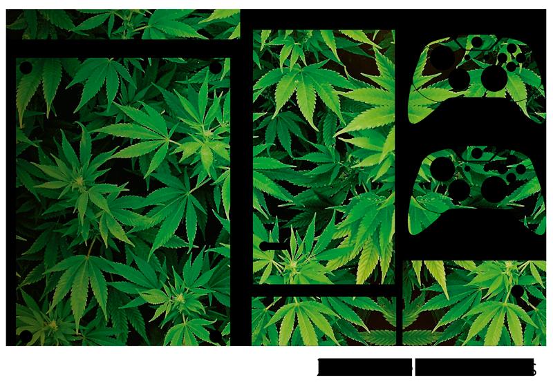 TenStickers. 大麻xbox皮肤贴纸. 借助这个出色的控制台贴纸,用大麻叶装饰您的xbox! +10,000名满意的客户。