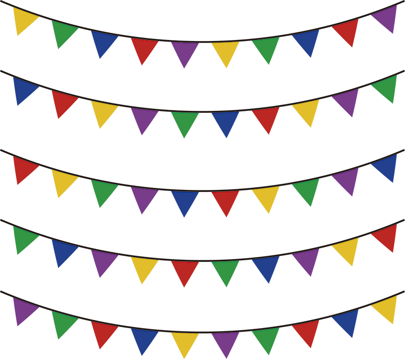 TenStickers. Multicoloured Bunting Wall Sticker. Mark your celebration with bunting thanks to this fantastic wall sticker! Extremely long-lasting material.