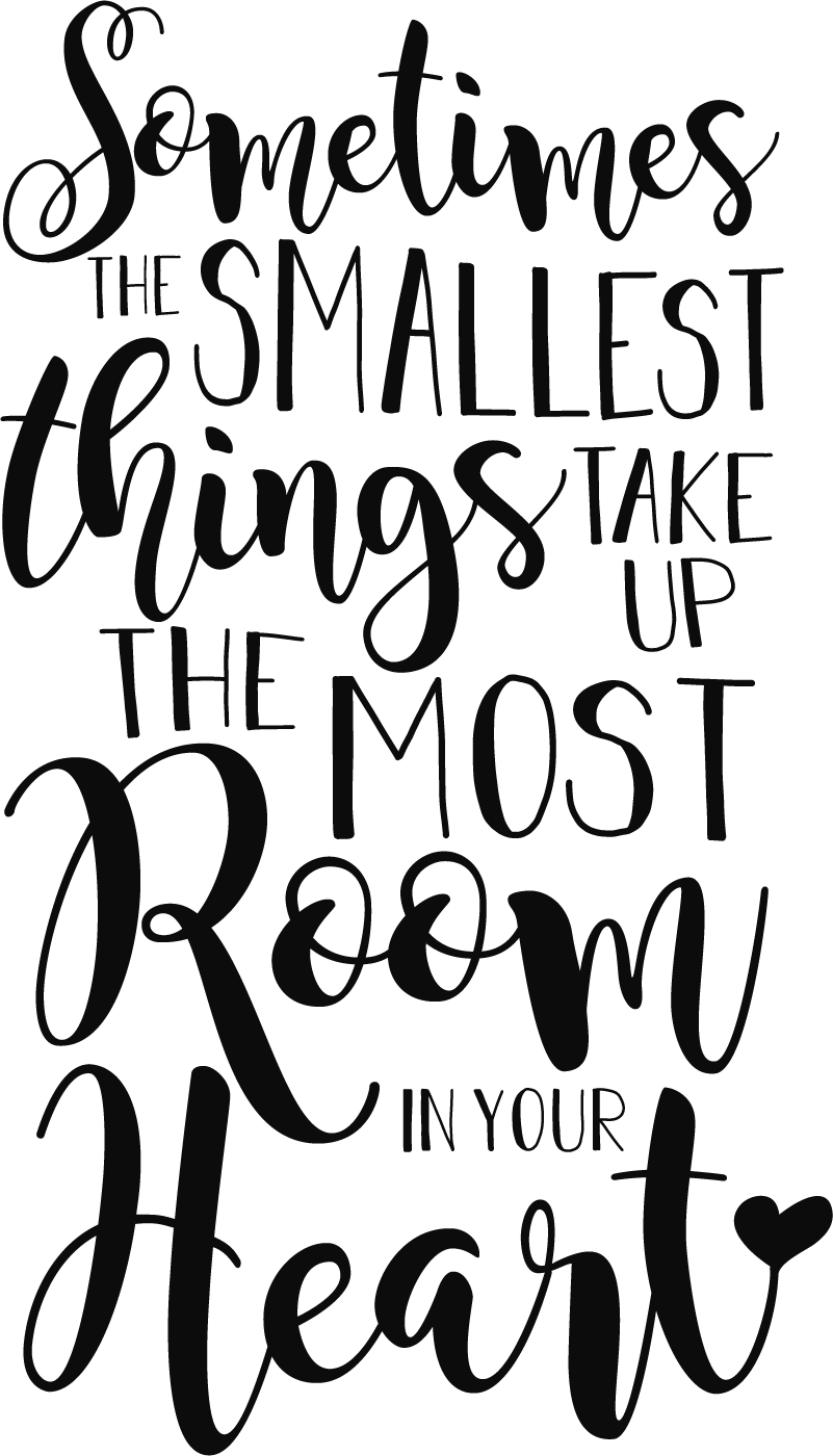 """TenStickers. Tekst Muursticker The Smallest Things. Muursticker met de hartverwarmende tekst """"Sometimes the smallest things take up the most room in your heart"""". Keuze uit 50+ kleuren. Ervaren ontwerpteam."""