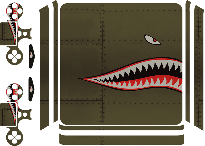 TenStickers. Shark Teeth Plane Art PS4 Skin Sticker. Get in touch with your ancestors thanks to this fantastic historical PS4 skin sticker! Don´t worry though, it still looks great! Personalised stickers.