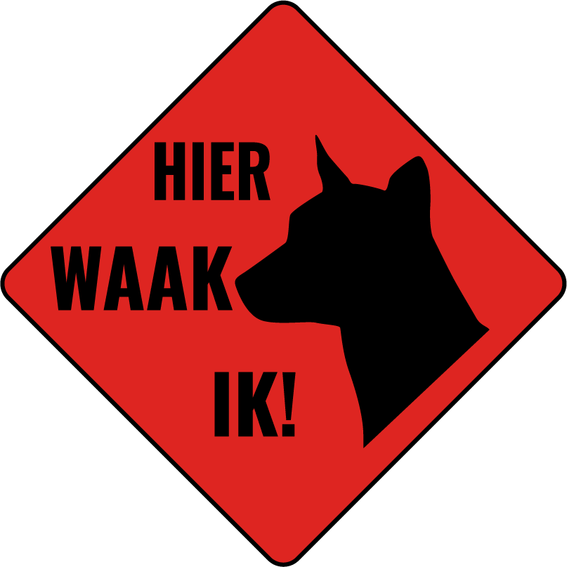 TenStickers. guard dog sign sign sticker. Dog banner sticker to  place on flat surface like garage or door entrance as sign warning for dig. Easy to apply and available in different sizes.